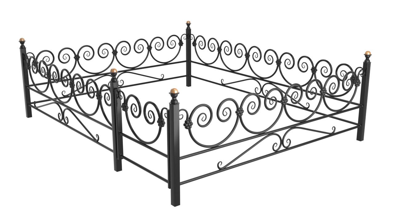Ограда Премиум класса №В-13 из металла с элементами ковки