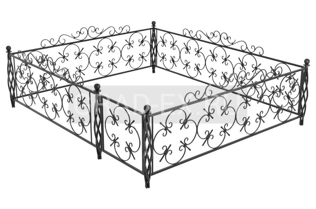 Ограда Премиум класса №В-4 из металла с элементами ковки
