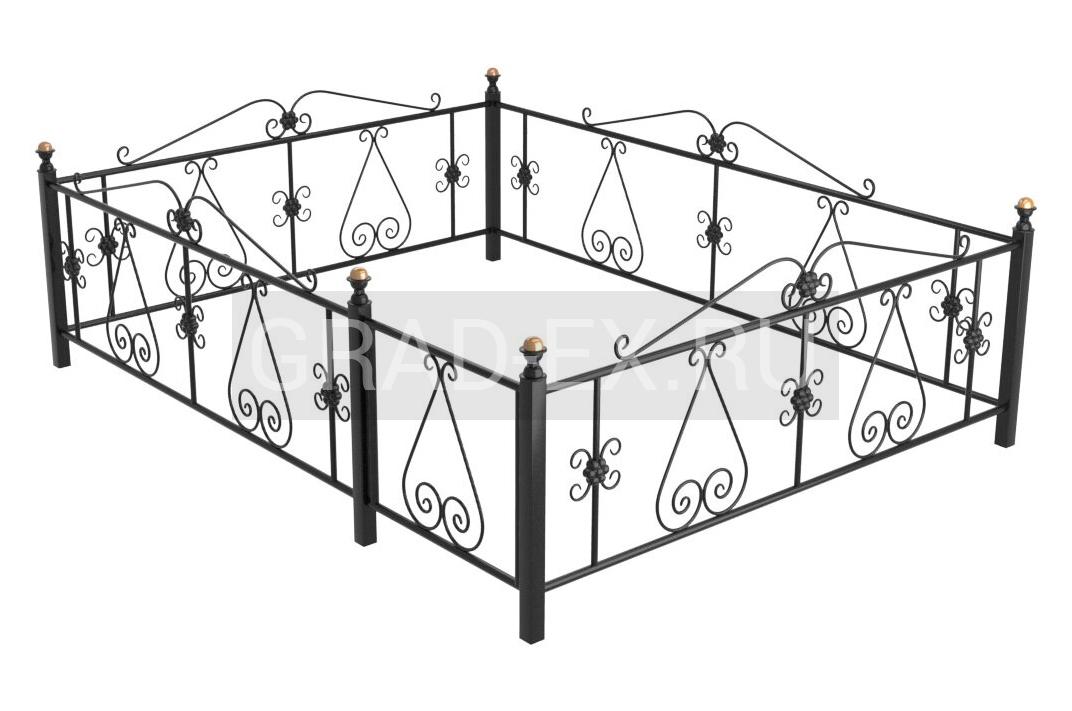 Ограда Премиум класса №В-5 из металла с элементами ковки