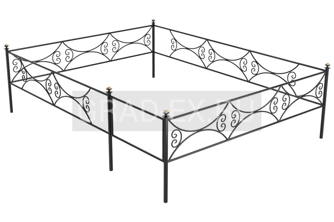 Ограда Премиум класса №В-9 из металла с элементами ковки